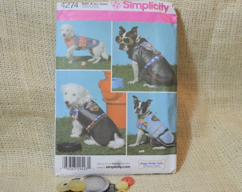 UNCUT Simplicity 4274 Dog Coats, best for small to medium dogs