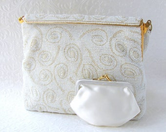 Unique Vintage White Beaded Purse by FREDDY Paris French Chic Glass Bead Wedding Handbag 1950's Formal Bridal Evening Bag Hand Made France