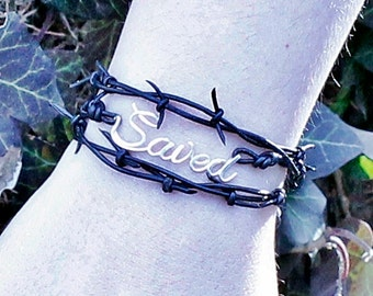 Saved Bracelet, Sterling Silver Leather Wrap Bracelet, Crown of Thorns, Barbed Wire Bracelet, Baptism Gift, Christian Jewelry, Easter