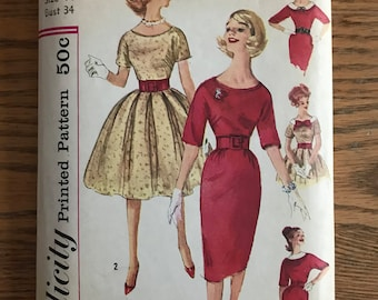 Vintage Simplicity Printed Pattern 3536 Misses' size 14, Dress