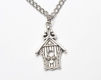 Freedom Bird flying away from Birdcage, Silver Bird Cage pendant Necklace, Be Free Bird Necklace