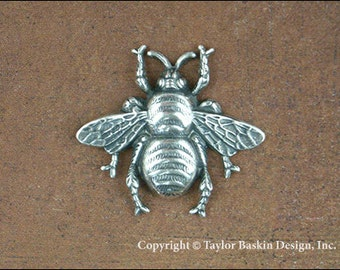 Antiqued Sterling Silver Plated Bumble Bees (item 7004-large AS) - 2 Pieces
