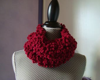 Snood scarf cowl neckwarmer chunky wool Terry red/burgundy - Made in France