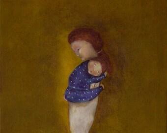 "Little boy's room wall art/ new baby boy shower gift/mother and son giclee print/ mom and boy art/baby boy nursery ""Slumber"""
