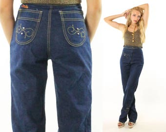 Vintage 80s High Waisted Jeans Dark Blue Denim Straight Leg Embroidered Tall 1980s xs x-small Male