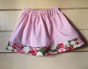 Little Girl's Pink and White Diamond Patterned Skirt with Rose Print Trim - Sizes 2T, 3T, 4T, and 5T