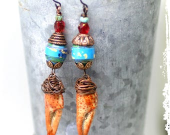 Crawfish Claw Earrings Funky Funny Quirky Unusual Gift for Her, Colorful Assemblage Mixed Media Dangle Earrings,