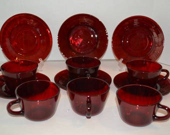 12 Piece Cranberry Glass Teacups and Saucers, Red