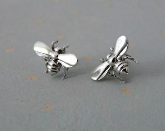 Bee Earrings - Studs - Bee Jewelry - Animal Earrings - Silver Stud Earrings - Gold Stud Earrings - Insect Jewelry - Bee Stud Earrings