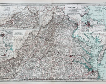 Antique Map : Virginia, USA, US State Map. Encyclopedia Britannica, 1890s (76)