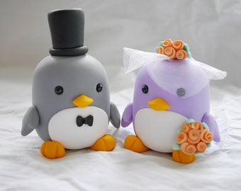 Penguin couple wedding cake toppers