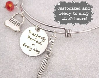 Mary Poppins Engraved - Practically Perfect In Every Way Bracelet, DISNEY Inspired Bracelet, Custom Name Charm Bracelet, Adjustable Bangle