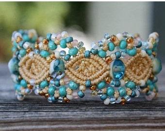 Micro-Macrame Cuff Bracelet. Modern Macrame. Beaded Cuff. Beach Cuff Bracelet. Macrame Cuff. Statement Jewelry. Boutique Fashion Piece.