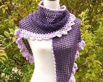 Eggplant Purple crochet edged with dark purple lace shawl