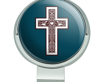 Cross with heart christianity golf hat clip with magnetic ball marker