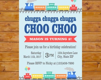 Train Party Invitation - Train Birthday Invitation - Chugga Chugga Two Two Birthday Party Invite - Printable, Custom, Digital File