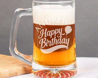 Happy Birthday Personalized 15 oz Beer Mug - Gifts - Holiday Gifts -Birthday Gifts (JM6460764-12-53331)