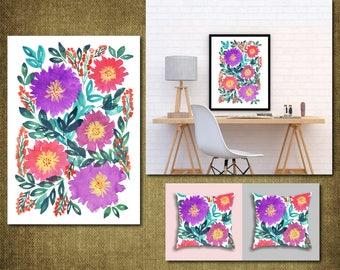 Digital/Printable Hand painted flowers