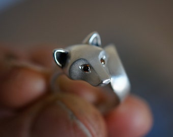 Silver  Shiba Inu with DIAMOND  EYES  (  pick your favorite color)   satin finish polished tips