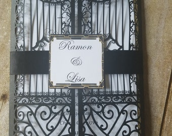 Black and Gold Iron Gate Invitations (Great Gatbsy Themed)
