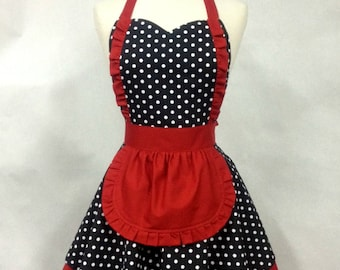 Apron French Maid Polka Dot with Red Double Circle Skirt