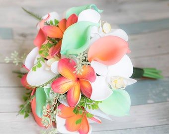 Coral Orange and Mint Green Natural Touch Orchids, Callas and Plumerias Silk Flower Bride Wedding Bouquet
