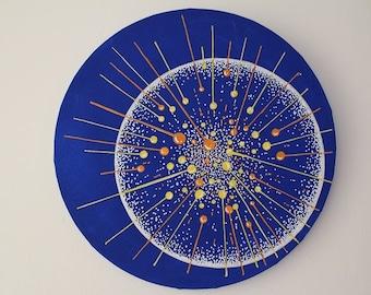 Original acrylic painting on round canvas