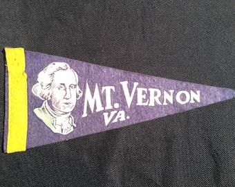 Vintage 1940s Felt Pennant - Mt. Vernon, Va.