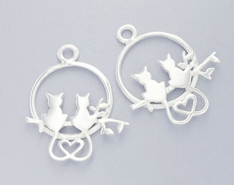 2 of 925 Sterling Silver Love Cats Pendants 16.5mm.  :tm0100