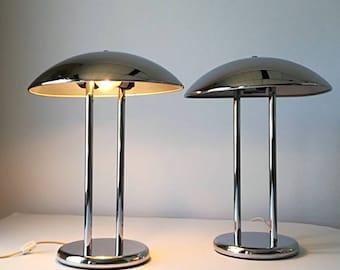 2 VINTAGE CHROME LAMP 1980