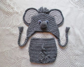 Crochet Baby Elephant Hat and Diaper Cover - Jungle Animals - Photo Prop - 0 to 24 Month Size - Any Color Combination