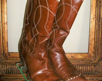 Vintage 1970's Nacona Men's  Brown Leather Boots - Size 10 1/2 B