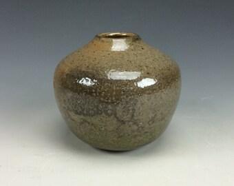 Shino Grey Black Tan and Orange Small Ceramic Vase, Modern Home Decor, Unique Rustic Vessel, Tiny Clay Bud Vase, Miniature Flower Vase