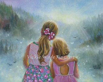 Two Sisters Art Print, blonde sisters, two blonde girls, images, hugging, sunshine, wall art, two daughters, girls room, Vickie Wade art
