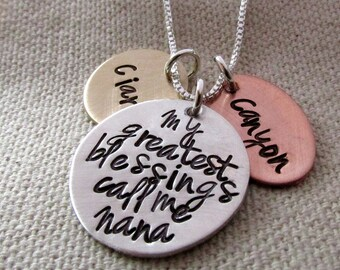 Mother's Day Gift for Grandma - My Greatest Blessings  - Hand Stamped Jewelry - Personalized Necklace - Nana Necklace - Custom Name Necklace