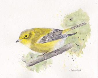 Pine Warbler 8x10 Watercolor Painting, warbler, Bird,warbler painting,Nature,Bird Lover,Wildlife,Animal,not a print,birder,made in ohio