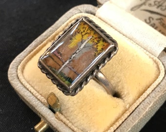 Art Deco Sterling Silver And Butterfly Wing Ring