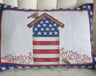 PATRIOTIC AMERICANA BIRDHOUSE Tapestry Pillow!  13x18.  Blend of Americana and Patriotic themes for Holiday or Summer Decorating.