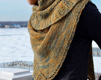 Rippling, a side to side knitted shawl/shawlette PDF pattern