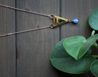 Long triangle necklace affordable geometric necklace blue minimal necklace gold pendant brass jewelry for women modern - Umea Necklace SALE