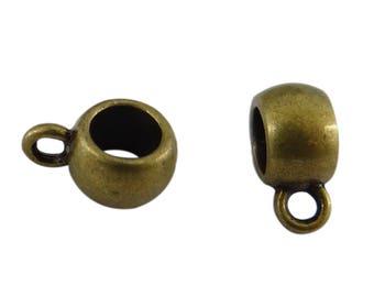 round 10 bails in antique bronze metal 11 mm x 5 mm bd027