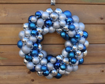 True Blue (and silver) Christmas Wreat