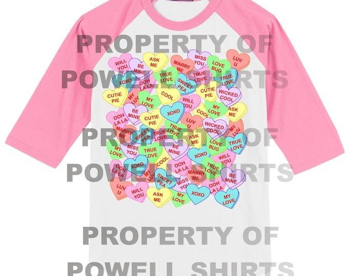 Conversation Hearts Valentines T Shirt - Raglan - Many colors available
