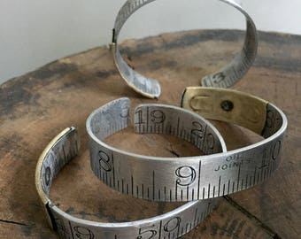 Small Size Ruler Bracelet Vintage Repurposed Upcycled Aluminum Brass Cuff Him or Her Graphic Carpenter Dressmaker Seamstress