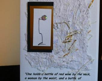 Handmade Greeting Card wtih Mark Twain Champagne  Quote