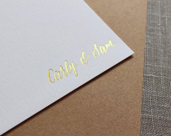 Gold Foil Personalized Stationery, Custom Note Cards, Wedding Thank You Cards, Couple's Stationery