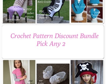 Crochet Pattern,Pick Any 2 Patterns,Crochet Pattern Bundle,Crochet Pattern Discount,Designer Pattern Discount,Pattern Discount Package