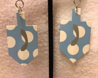 Polka dot dreidel earrings