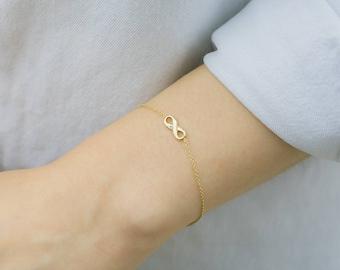 Gold Infinity Bracelet, 14k Solid Gold Bracelet, Friendship Bracelet, Dainty Bracelet, Eternity Bracelet, Simple Bracelet,Minimalist Jewelry