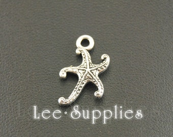 50pcs Antique Silver Alloy Mini Starfish Charms Pendant A399